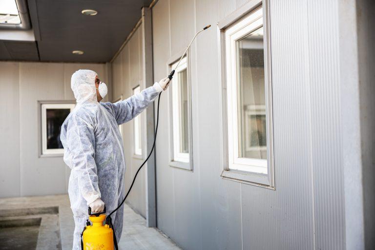 Hombre llevando a cabo un control de plagas